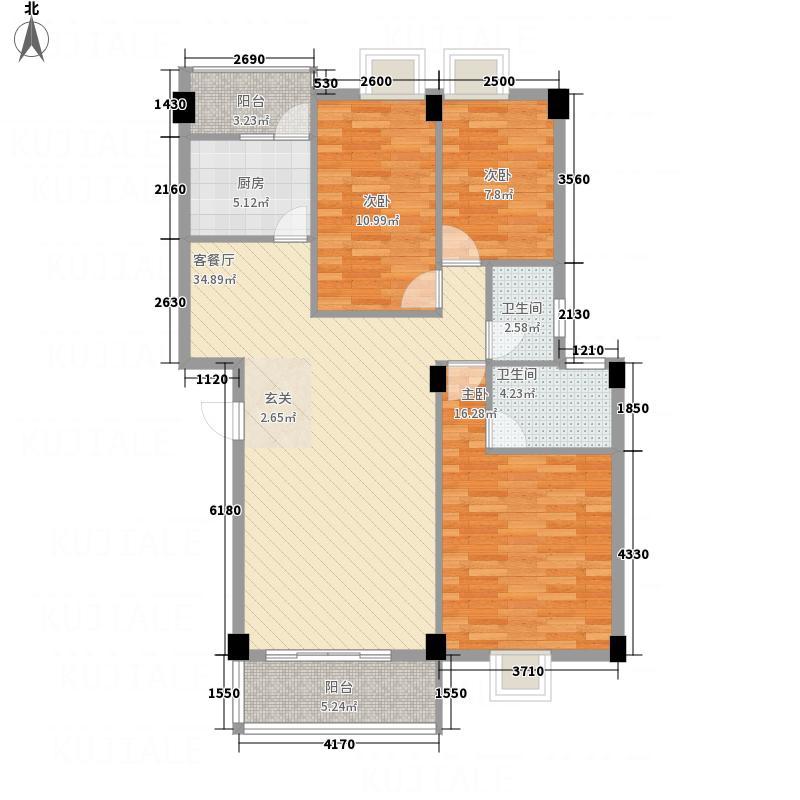 喜联大厦126.30㎡B座04单位户型3室2厅2卫1厨