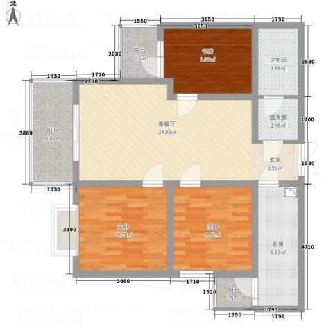永宁馨园3室2厅1卫1厨111.00㎡户型图