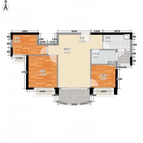 碧桂园太阳城3室1厅1卫1厨93.00㎡户型图