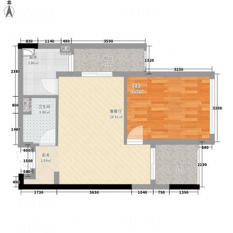 江宇天府城1室1厅1卫1厨69.00㎡户型图