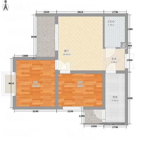 永宁馨园2室1厅1卫1厨78.00㎡户型图