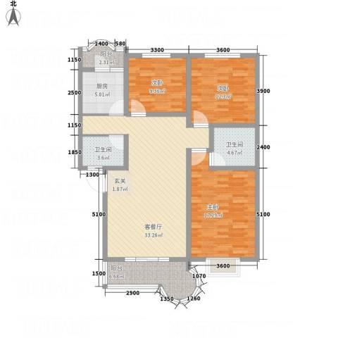 阳光水岸3室1厅2卫1厨117.00㎡户型图