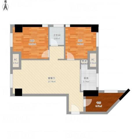 金地自在天地3室1厅1卫1厨92.00㎡户型图