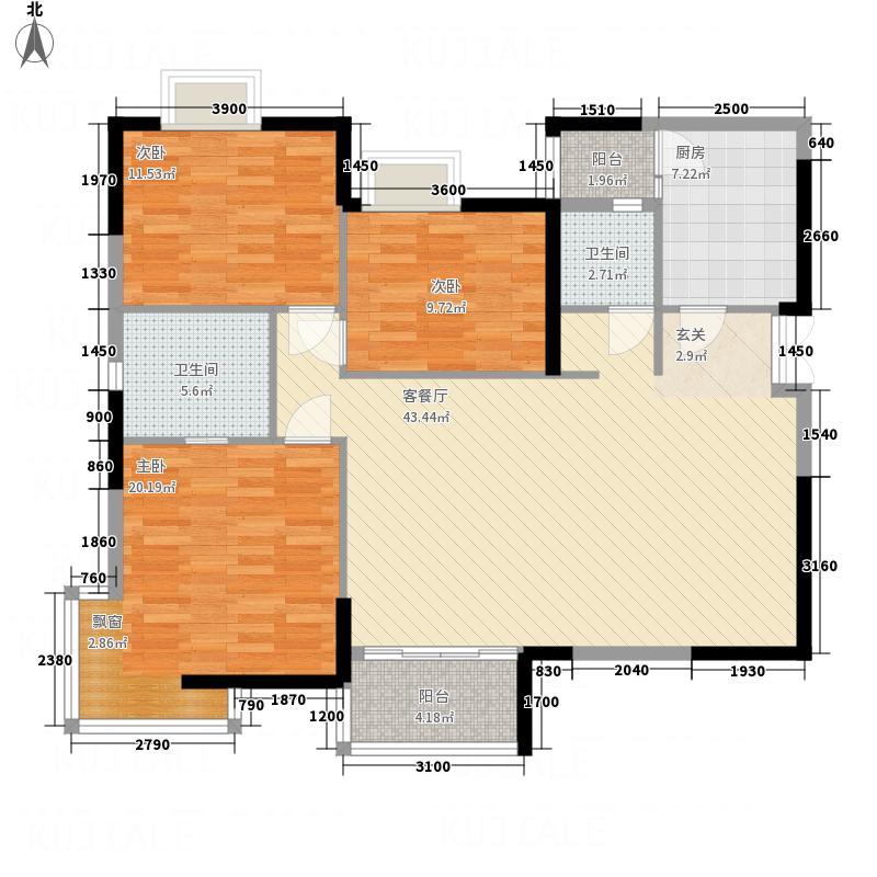 汉口滨江公馆户型3室