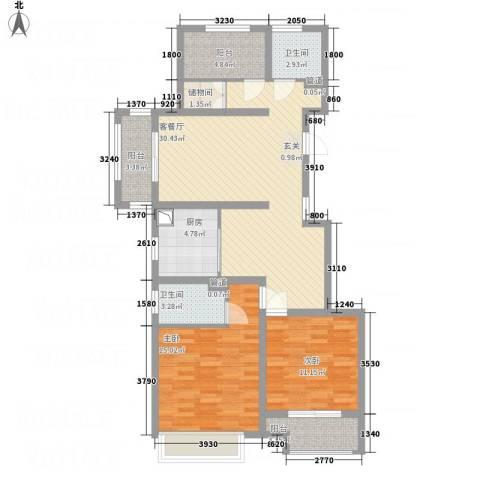 建滔裕花园2室1厅2卫1厨118.00㎡户型图