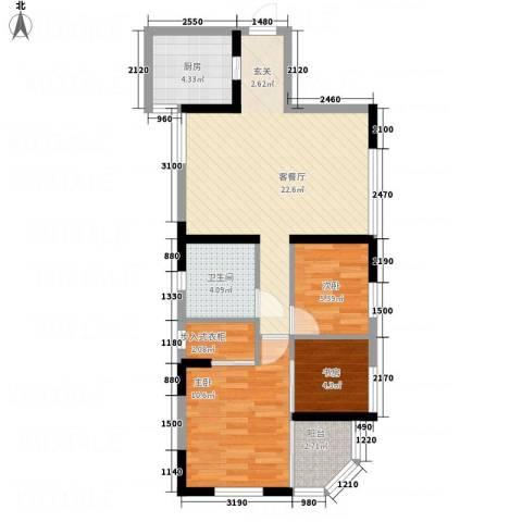 海怡花园3室1厅1卫1厨81.00㎡户型图