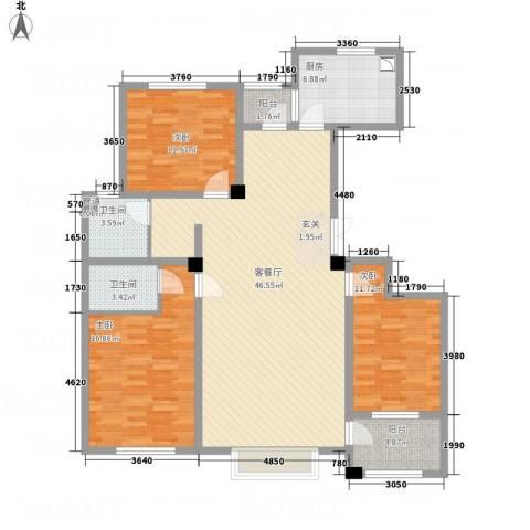 明潭府3室1厅2卫1厨155.00㎡户型图