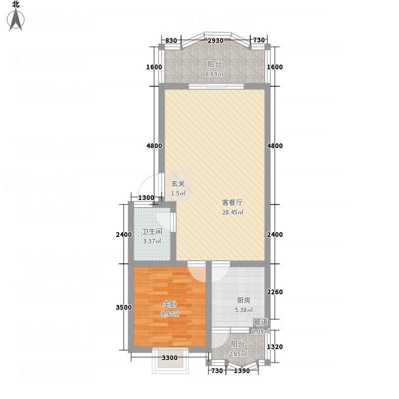 阳光水岸67.00㎡二期Y户型1室2厅1卫1厨