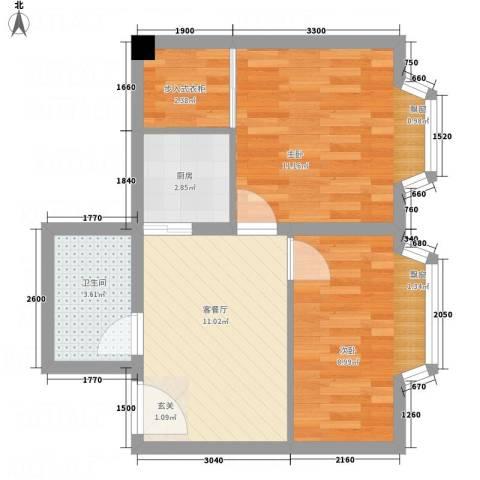 一栋洋房2室1厅1卫1厨75.00㎡户型图