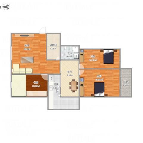 怡兴花园3室2厅1卫1厨165.00㎡户型图