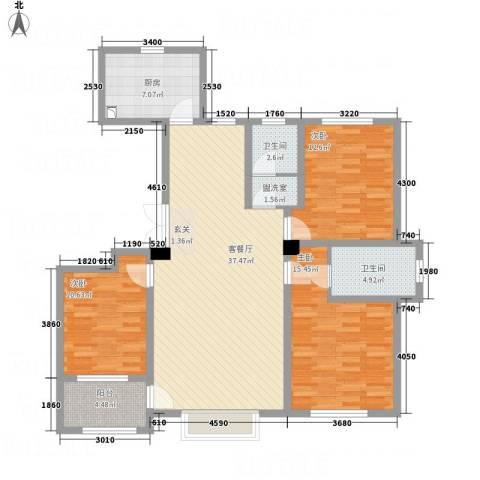 明潭府3室2厅2卫1厨96.79㎡户型图