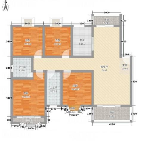 天工颐园4室1厅2卫1厨144.00㎡户型图