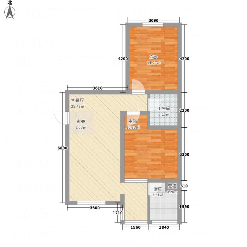 天馨逸家2.15㎡D1户型2室2厅1卫