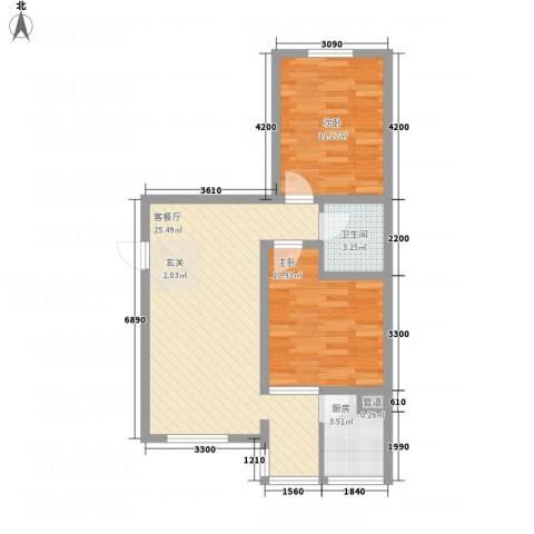天馨逸家2室1厅1卫1厨54.71㎡户型图