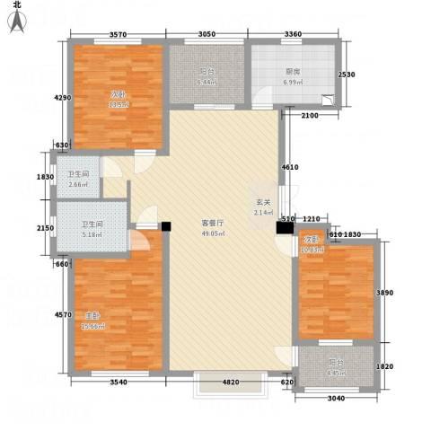 明潭府3室1厅2卫1厨162.00㎡户型图