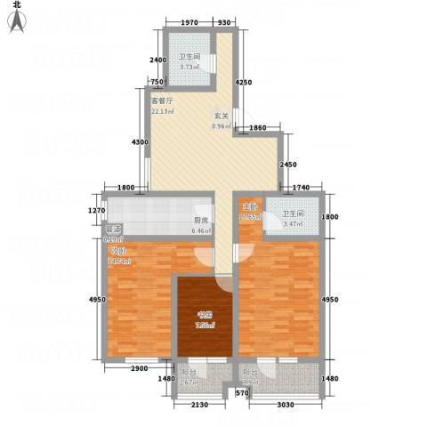 天馨逸家3室1厅2卫1厨126.00㎡户型图