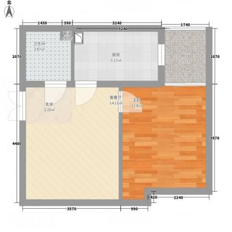 永宁馨园1室1厅1卫1厨54.00㎡户型图