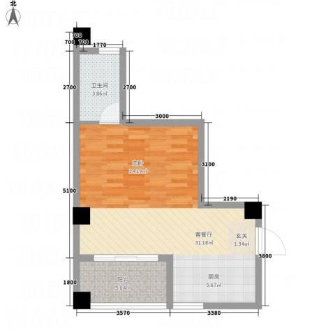 兴业城1厅1卫0厨55.00㎡户型图