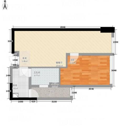 江宇天府城1室1厅1卫1厨67.00㎡户型图