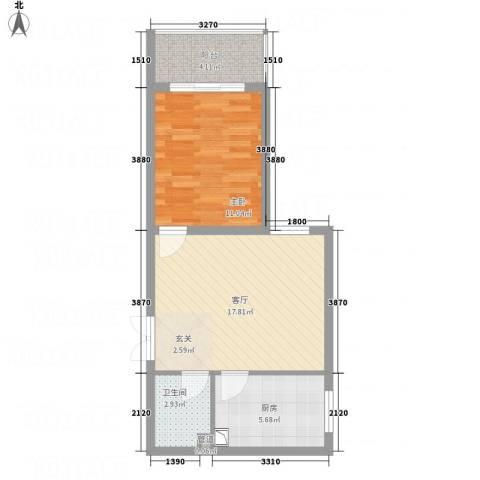永宁馨园1室1厅1卫1厨41.82㎡户型图