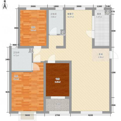 贻成・御景国际3室1厅2卫1厨92.98㎡户型图
