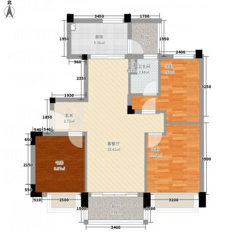 碧桂园太阳城3室1厅1卫1厨98.00㎡户型图