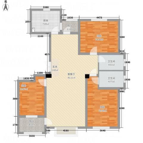 明潭府3室1厅2卫1厨105.36㎡户型图