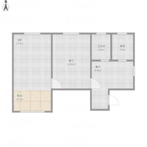 保平小区1室2厅1卫1厨61.00㎡户型图