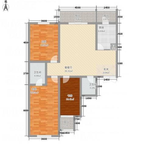 天馨逸家3室1厅2卫1厨151.00㎡户型图