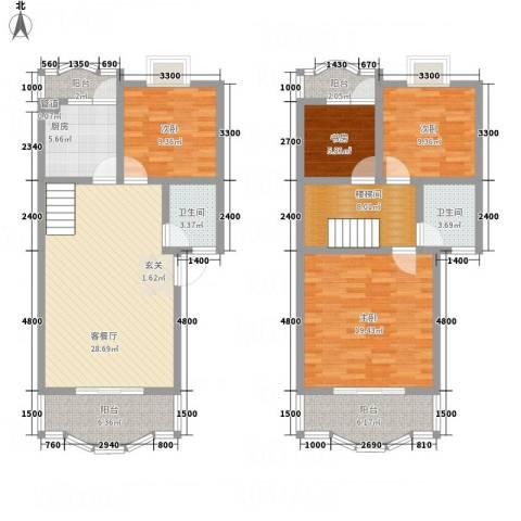 阳光水岸4室1厅2卫1厨135.00㎡户型图