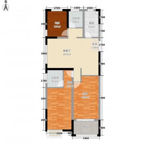 华仪香榭华庭3室1厅2卫1厨118.00㎡户型图