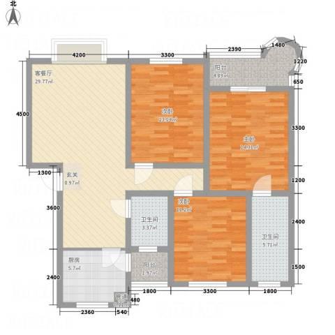 阳光水岸3室1厅2卫1厨113.00㎡户型图