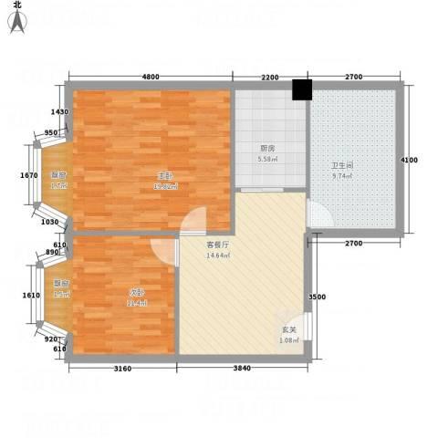 一栋洋房2室1厅1卫1厨61.17㎡户型图