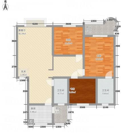 阳光水岸3室1厅2卫1厨127.00㎡户型图