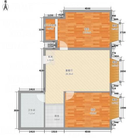一栋洋房2室1厅1卫1厨75.28㎡户型图