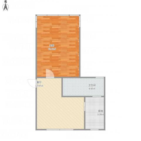 迎园路351弄小区1室1厅1卫1厨71.00㎡户型图