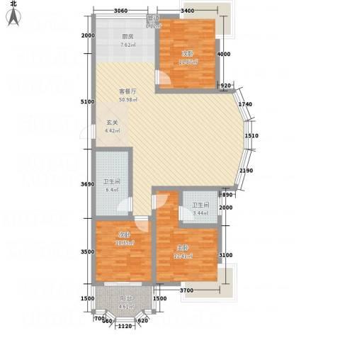 蓝盾花苑3室1厅2卫0厨142.00㎡户型图