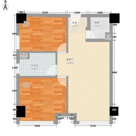 龙泽名府2室1厅1卫1厨71.00㎡户型图