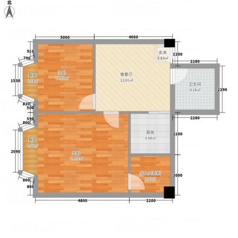 一栋洋房2室1厅1卫1厨78.00㎡户型图