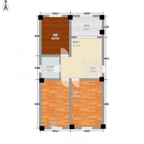裕隆花园3室1厅1卫1厨92.00㎡户型图