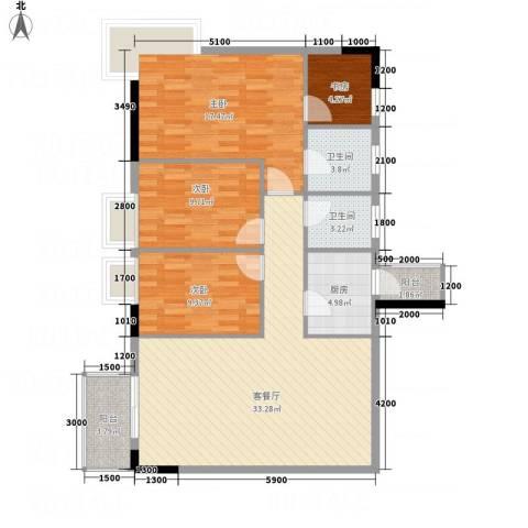金桃园大厦4室1厅2卫1厨101.95㎡户型图