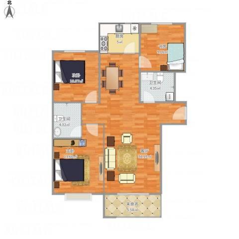 同美中央生活区3室1厅2卫1厨118.00㎡户型图