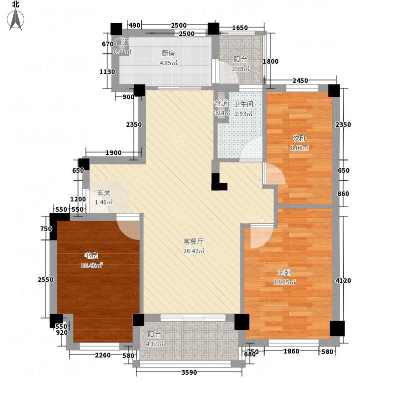 韶关碧桂园8.00㎡彩虹郡YJ90T-2型户型3室2厅2卫1厨