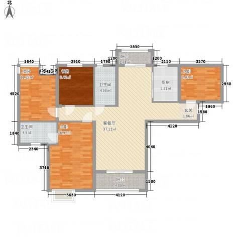 茗阳天下4室1厅2卫1厨136.00㎡户型图