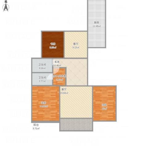 泷悦长安3室2厅2卫1厨108.78㎡户型图