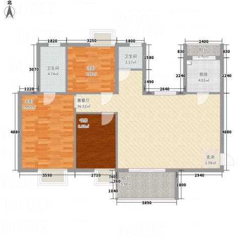 茗阳天下3室1厅2卫1厨88.83㎡户型图