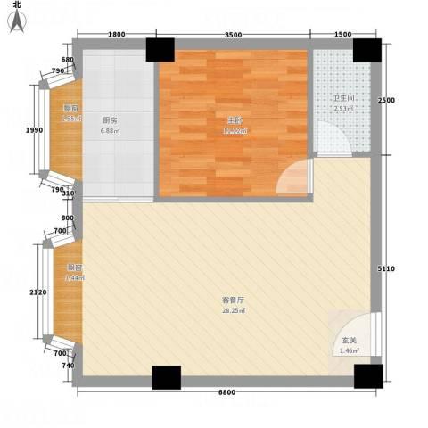 一栋洋房1室1厅1卫1厨68.00㎡户型图