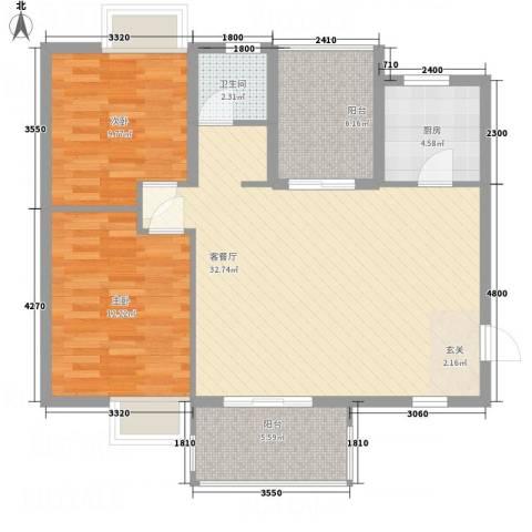茗阳天下2室1厅1卫1厨73.36㎡户型图
