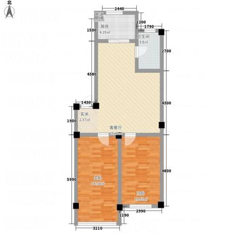 裕隆花园2室1厅1卫1厨90.00㎡户型图