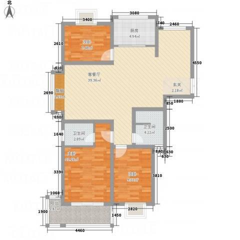 德汇公馆3室1厅2卫1厨100.00㎡户型图